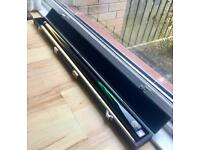 BCE Two Piece Pool Snooker Cue in Black Velvet Lined Box with Chalk