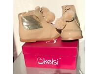 Infant Girls Patent Nude Boots - Sizes 3-8