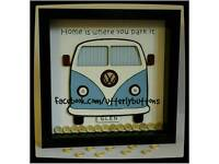 Handmade vw camper van frame with button detail