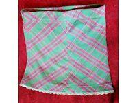 NESS 16 tweed skirt green pink check plaid tart aline lace scottish cute cupcake