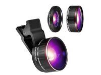 Phone Camera Lens Kit, 0.45x Wide Angle Lens, HD 128° Super Wide Angle 20X Macro clip-on Lens