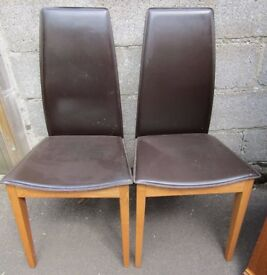 Pair of brown leather look dining chairs, Italian, collect Somerset