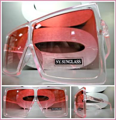 OVERSIZED VINTAGE RETRO SHIELD Style SUN GLASSES Large Square Pink Frame & (Pink Square Glasses)