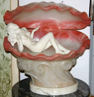 Aime Jules Dalou 1866 French Marble Nude In Shell Table Lamp EXTREMLY RARE