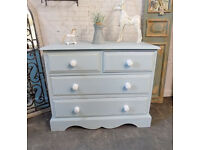 Solid Pine Painted Duck Egg Chest Drawers