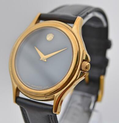 Movado Gold Tone 34mm  Watch 84 E4 0863 Original Movado Strap & Buckle