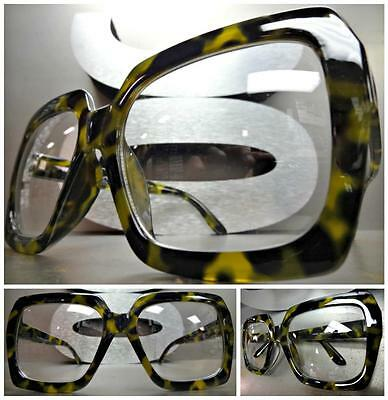 HUGE EXAGGERATED OVERSIZE 70s VINTAGE Style Clear Lens EYE GLASSES Fashion Frame