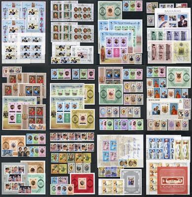 1981 Royal Wedding, MNH Sets, Miniature Sheets. Countries A - K. Cat app 124