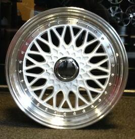 Brand New in the Box White BBS Alloy Wheels Staggered set with Studs fits Corsa Polo Fiesta