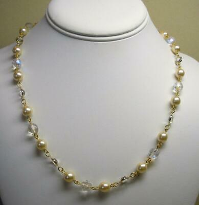 JOAN RIVERS GOLD EP CRY RHINESTONE CHANNEL PEARL & FACETED BEAD NECKLACE NEW