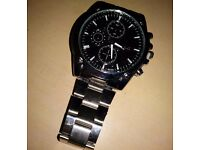 New mens stainless watch with large black face