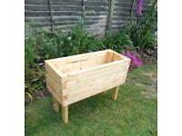 Large rectangular wooden garden planter approx. size 84 cm L x 34 W x 60 H, 32 cm deep