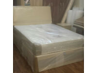 BRAND NEW DOUBLE BED DIVAN BASE AND MATTRESS NEW IN WRAPPERS with headboard