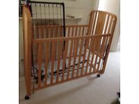 Baby wood frame cot With mattress £30
