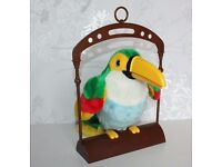 Talking Parrot Toucan Bird - Sound Activated Parrot and Perch Swing