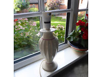 Table Lamp base, cream with fluted body and coloured banding £4