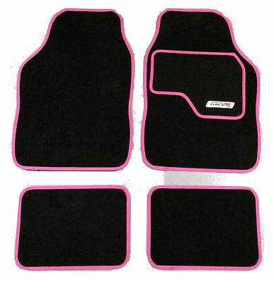 Full Black Carpet Car Floor Mats With Pink Boarder For Seat Alhambra Altea Aro