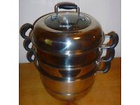 3 tier aluminium steamer set - 28cm diameter