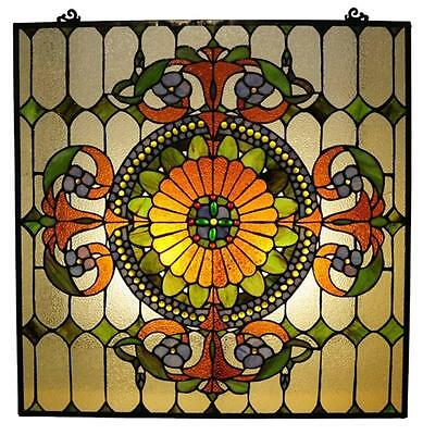 """Tiffany Style Stained Glass Victorian Window Panel 25 X 25"""" Handcrafted New"""