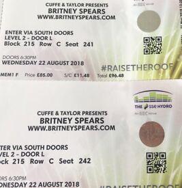Britney Spears tickets SECC hydro Glasgow x2 seating