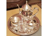 3 Piece Silver Plated Tea Set on Tray