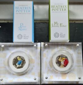 Peter Rabbit & Jeremy Fisher coloured silver proof limited edition 50p coins