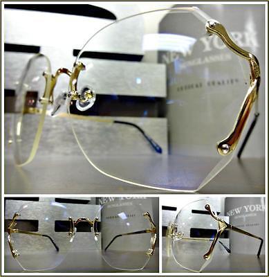OVERSIZED VINTAGE RETRO Style Clear Lens EYE GLASSES Large Rimless Gold Frame