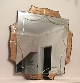 Art Deco Mirror with etching & pink details