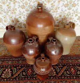 Six Large Antique Salt Glaze Stoneware Flagon/Jugs (Harleston IP20)