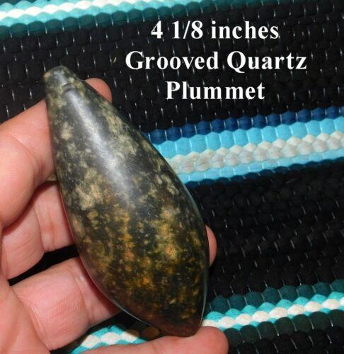 Awesome Rare Darke Co Ohio Grooved Mottled Quartz Plummet Arrowhead Net Weight