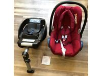 Maxi-Cosi CabrioFix baby car seat/carrier (0-12m, 0-13kg) & Isofix base + rain cover