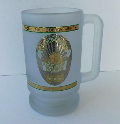 Hawthorne California CA Police Department Heavy Frosted Glass Stein/Mug Vintage