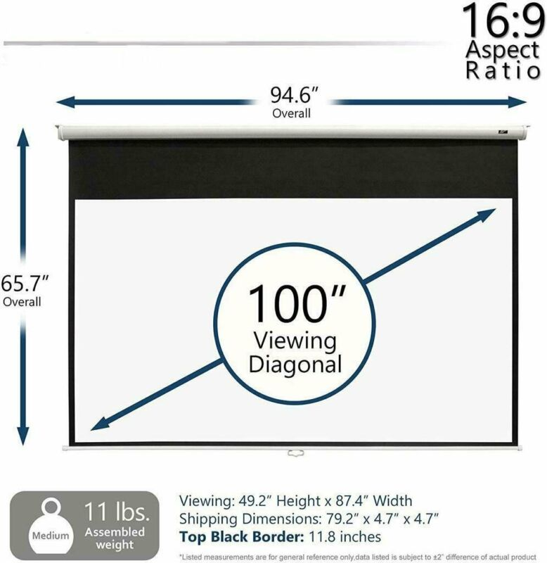 """5 Core PULL DOWN PROJECTOR Projection Screen 100""""INCH 8K 3D Ultra HD 16:9 M-100"""