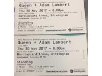 2 QUEEN STANDING TICKETS SOLIHULL COLLECTION (30 NOV BIRMINGHAM)