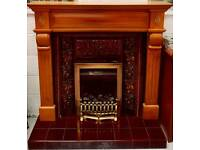 Stunning complete fire place with tiled side and gas fire can deliver 07808222995