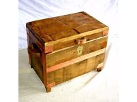 DINING / LIVING / SHABBY CHIC BESPOKE SMALL TRUNK PIRATE CHEST SOLID ANTIQUE PINE WITH COPPER DETAIL