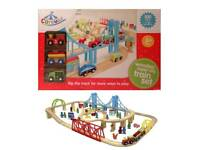 BRAND NEW Carousel Build A World Wooden Train Set With 100 Pieces Track