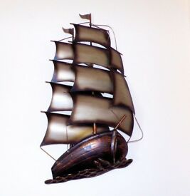 3D Galleon Sailing Ship Metal Wall Art - 63cm x 35cm - New & Boxed