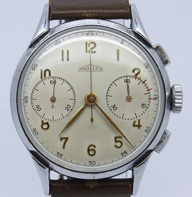 VINTAGE Angelus 37mm Chronograph Mens Watch Serviced c.215 = MINT Original Dial