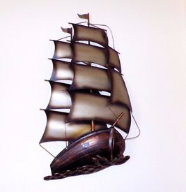 3D Galleon Sailing Ship Metal Wall Art - New & Boxed