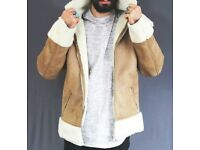 ASOS mens AVIATOR Shearling Jacket Small biker camel beige tan 36 S M borg teddy acne