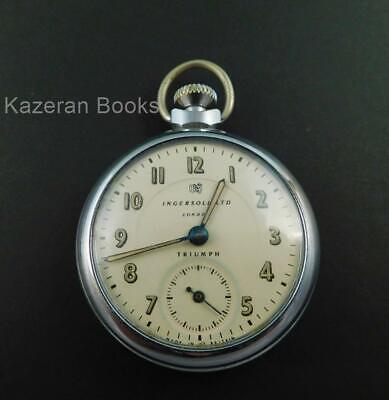 Vintage Ingersoll Triumph Top Wind Fob Pocket Watch Working Made In Gt Britain