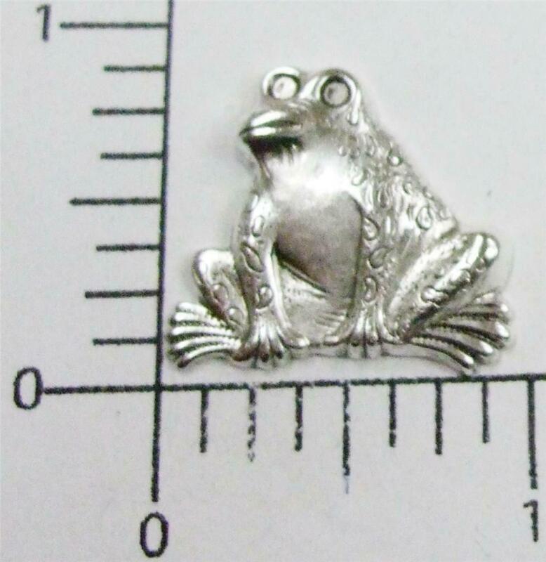 48784        6 Pc Matte Silver Oxidized Frog Brass Jewelry Finding  SALE