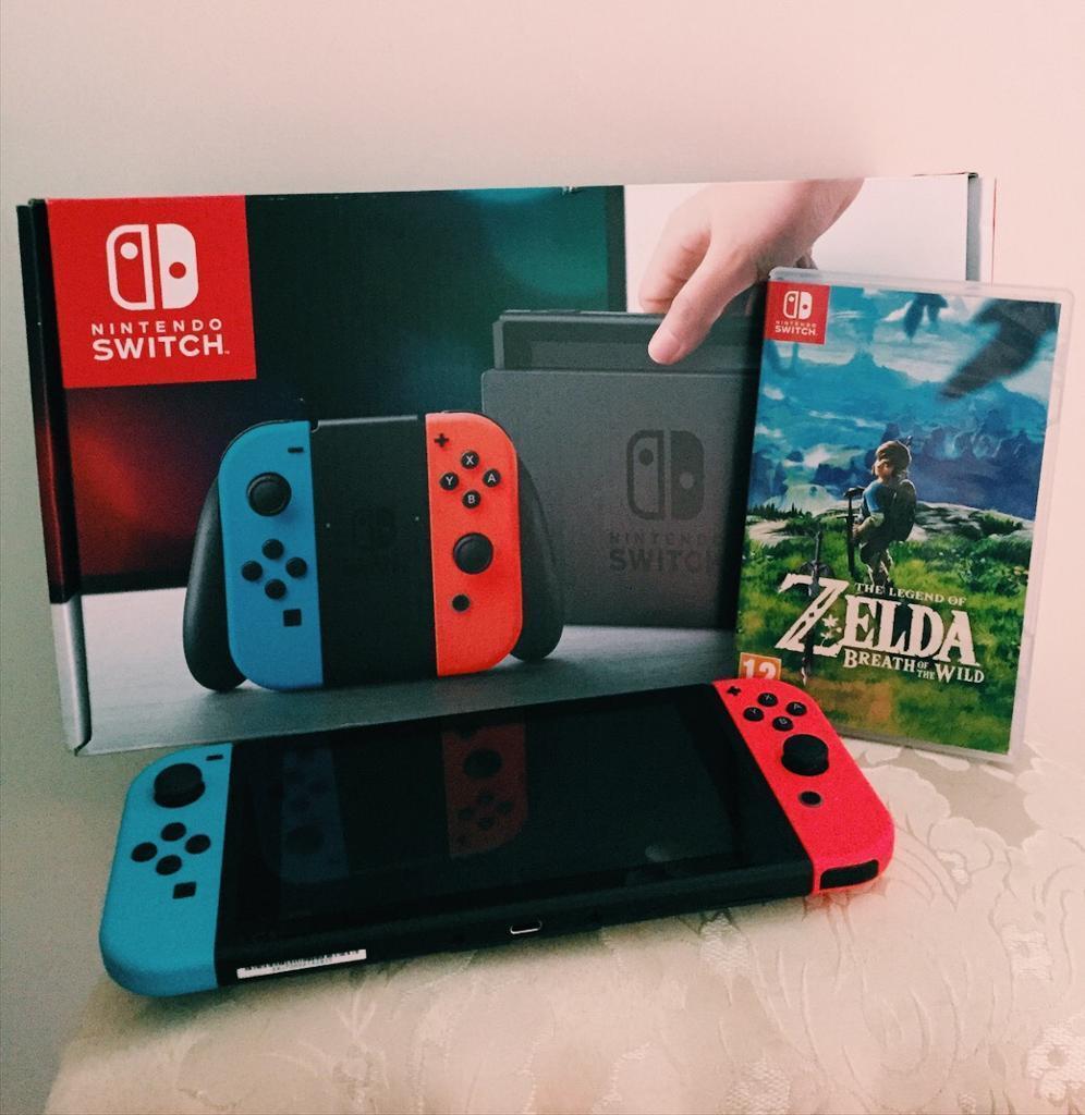 Nintendo Switch Console Neon Red Blue Bundle Zelda Botw