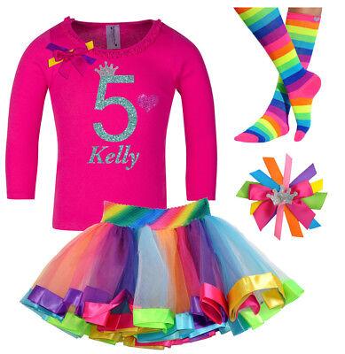5th Birthday Girl (5th Birthday Girl Shirt Glitter Rainbow Tutu Outfit Gift Set Sock Hair Bow)