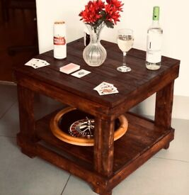 Wooden Coffee table with bottom shelf rustic effect