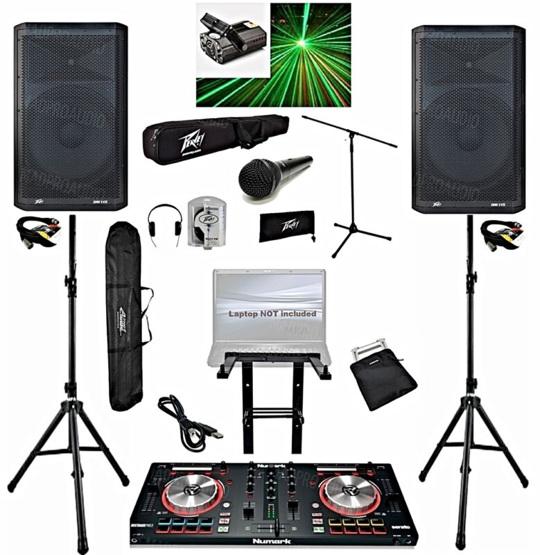 Professional Dj system Numark Mixtrack pro 3 dj controller Peavey DM115 pro dj
