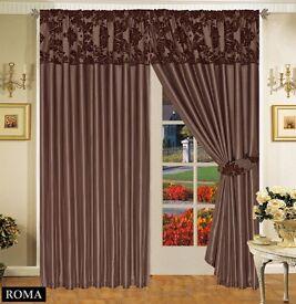 Beautiful damask flock curtains 90x90 2 pairs