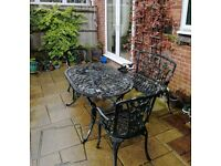 Garden / Patio Table, Bench, & 2 Chairs (Cast)