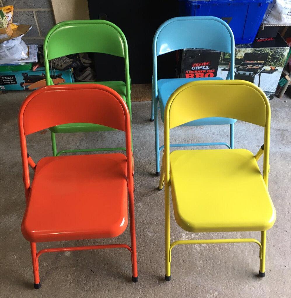 Habitat Macadam Metal Folding Chair X 4 Unmarked As New